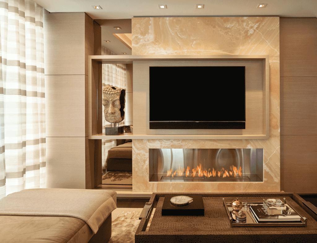 Miami interior designers Pepe Calderin fireplace