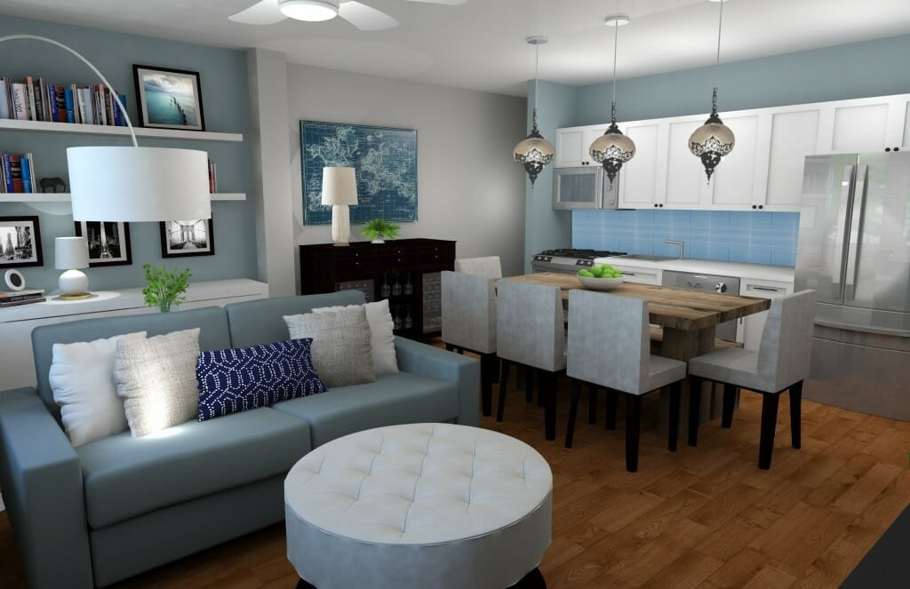 Decorilla online interior designer combined living dining room