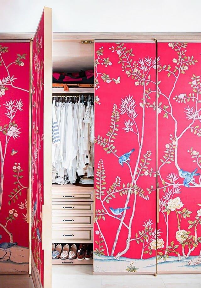closet door wallpaper design