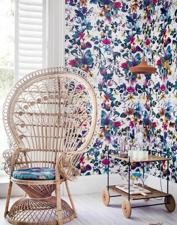 floral nature wall paper design