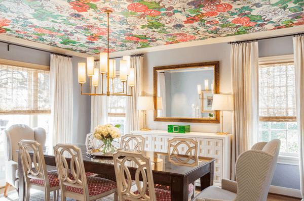 wallpaper on ceiling dining room decor