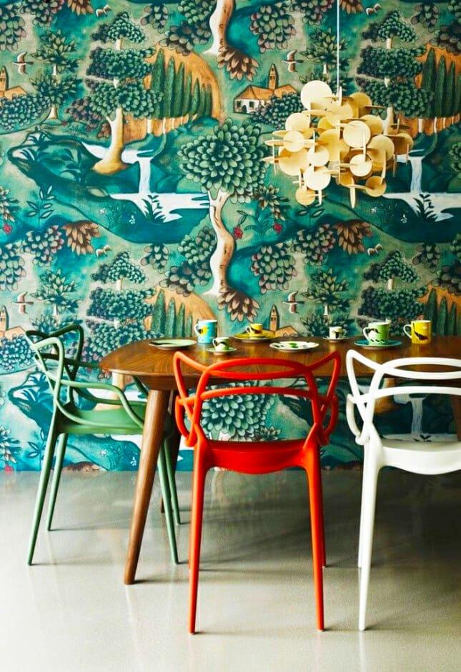 wallpaper-tree dining room design