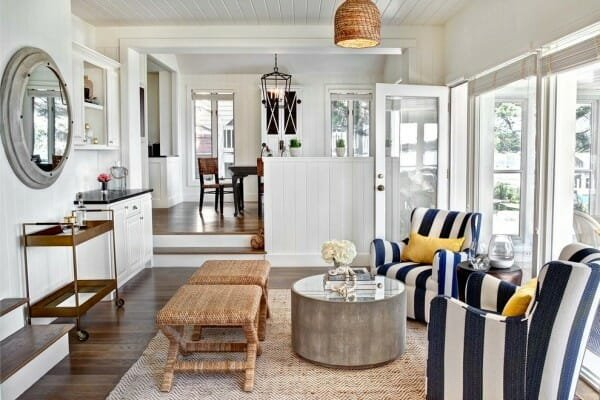 porthole mirror in living room nautical design