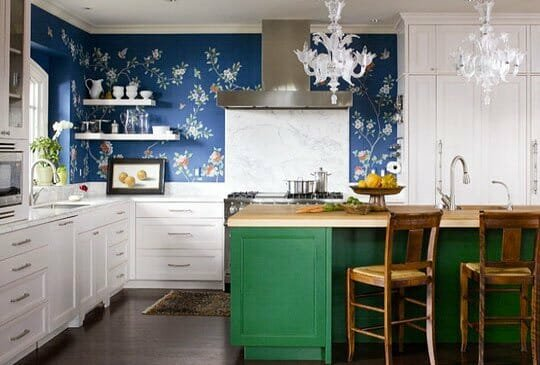 wallpapered backsplash kitchen design