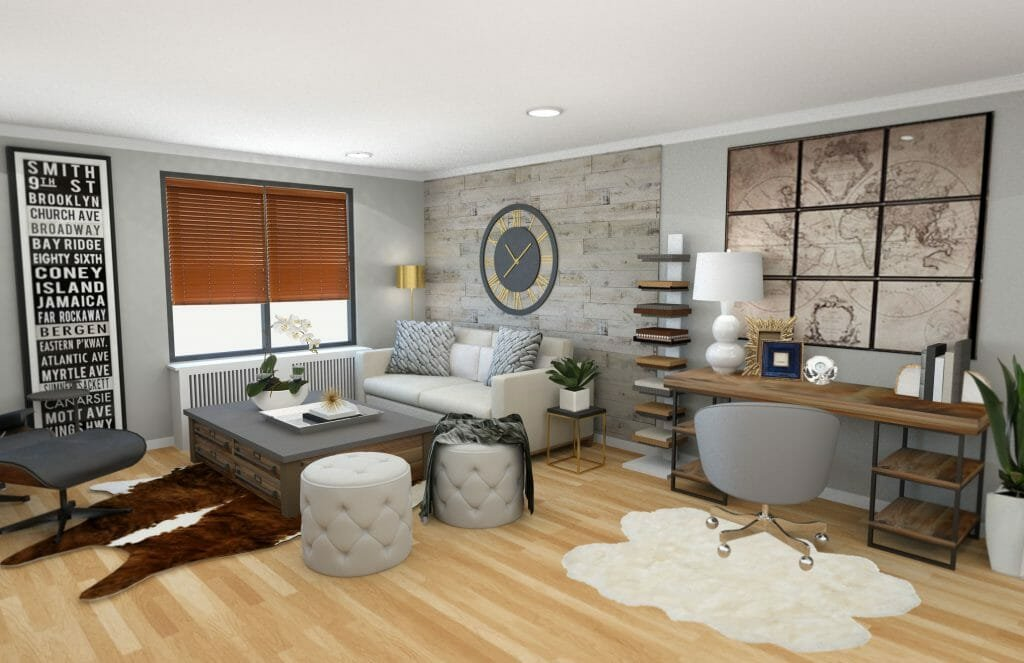 Decorilla modern rustic living room design online