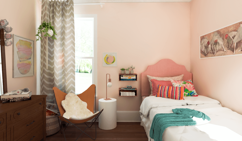 Eclectic teen bedroom design by Decorilla designer, Eleni P.