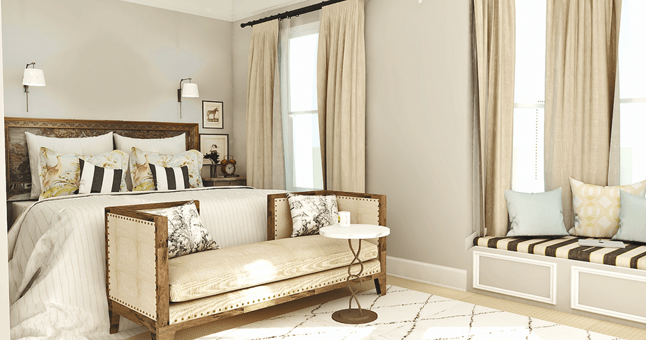 Classic-and-Soft-Bedroom-3D rendering