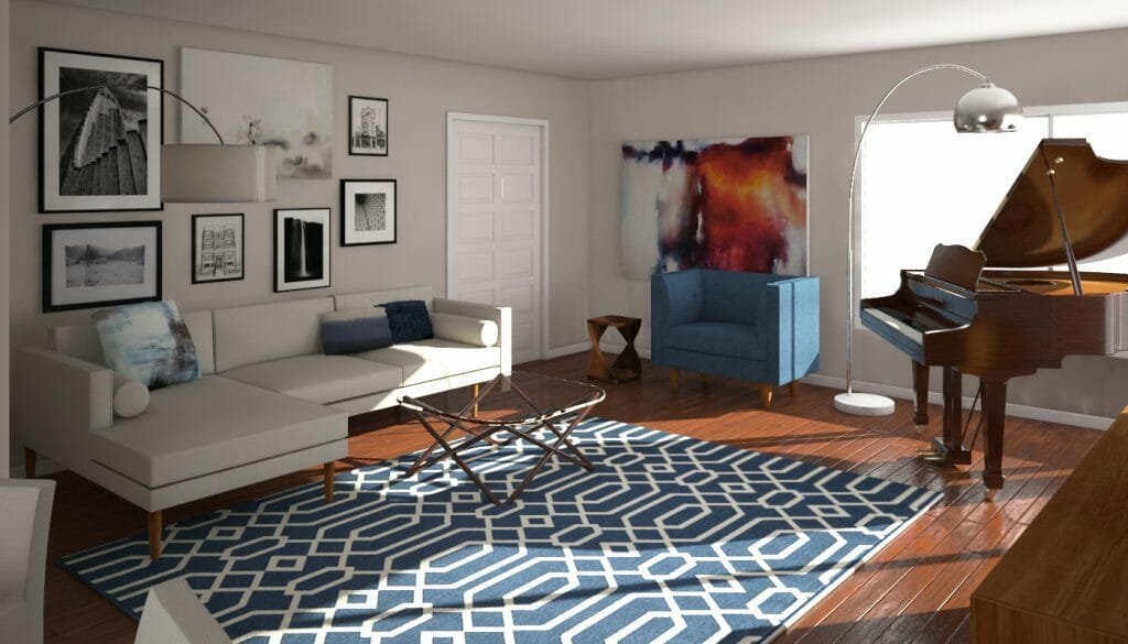 appealing mid century modern interiors living rooms | Before & After: Mid Century Modern Living Room Design Online