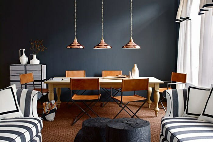 copper-interiors-dining-room-black-wall-copper-pendants-by-Jake-Curtis-via-House-and-Garden