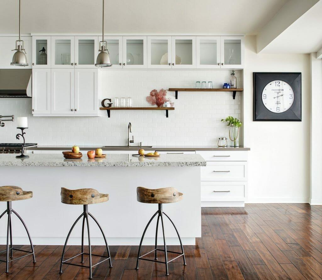 Interior renovation of white kitchen.