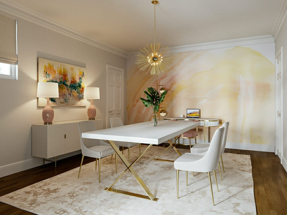 Glam office dining combo by affordable san francisco interior designer Theresa W