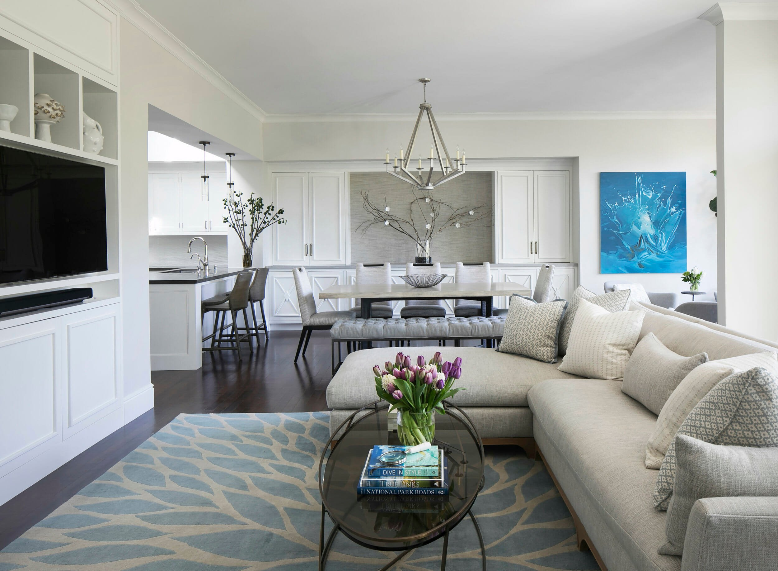 Transitional open living dining by San Francisco interior designer Julie Roots