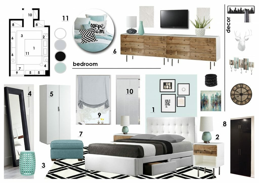 online interior designer bedroom moodboard