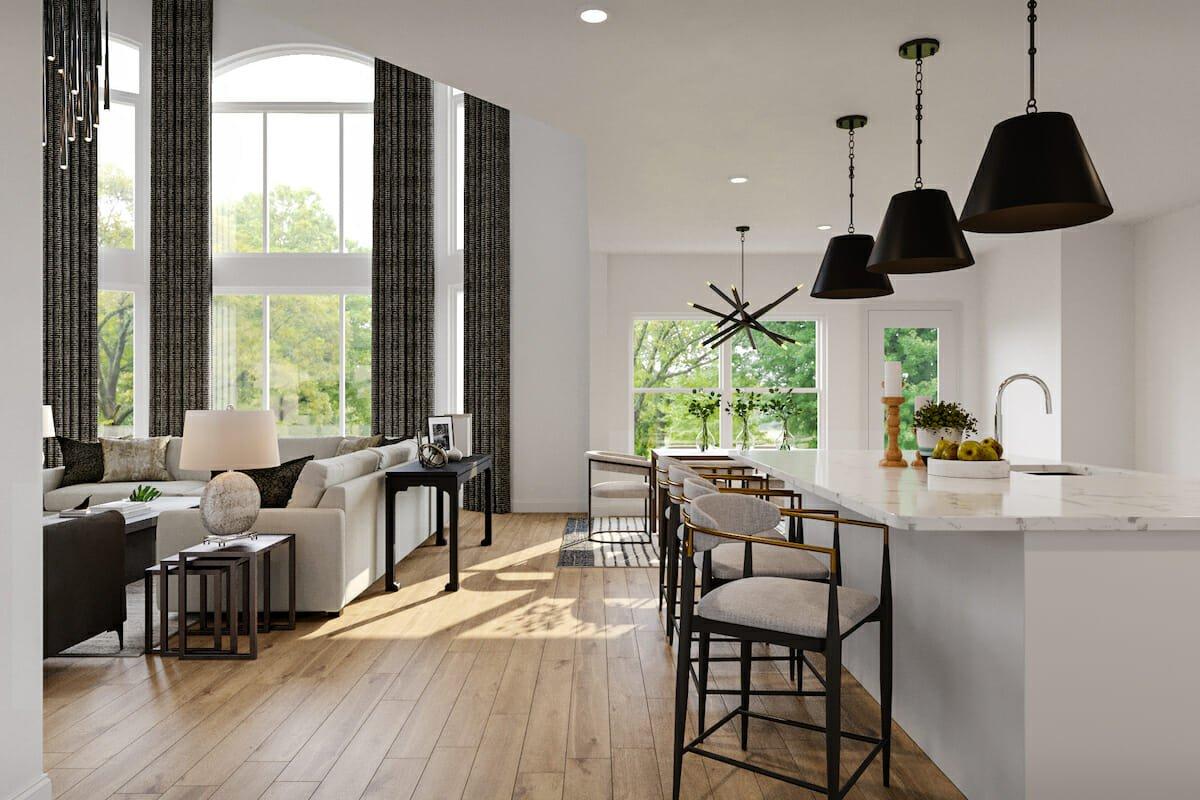 Black & white contemporary open living by Decorilla's home designer in Houston, TX