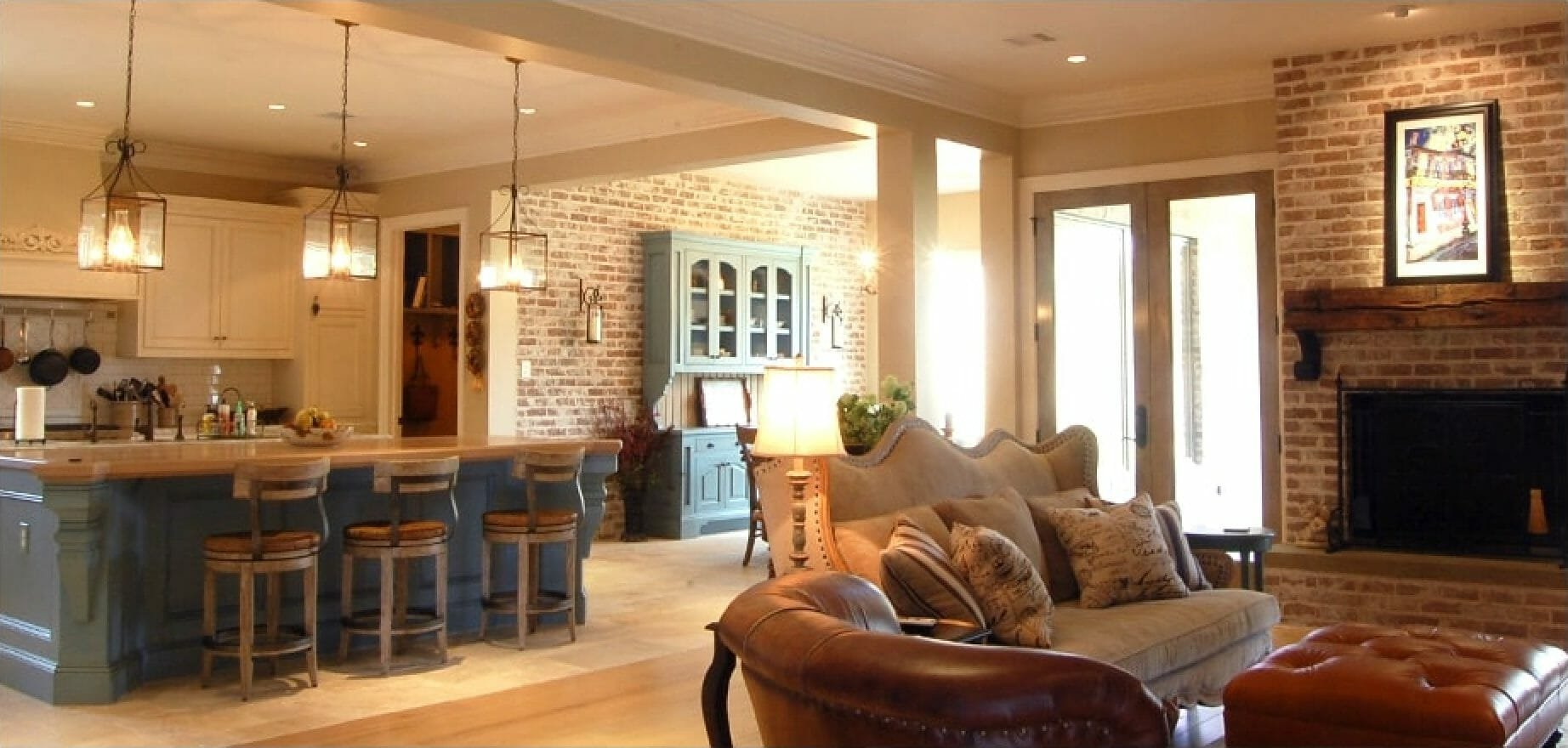 French country open living by interior designer in houston - brickmoon designs 2