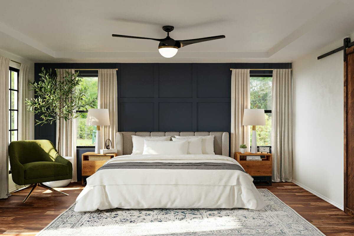 Modern Farmhouse Master Bedroom by one of the top houston interior designers Cayla S.