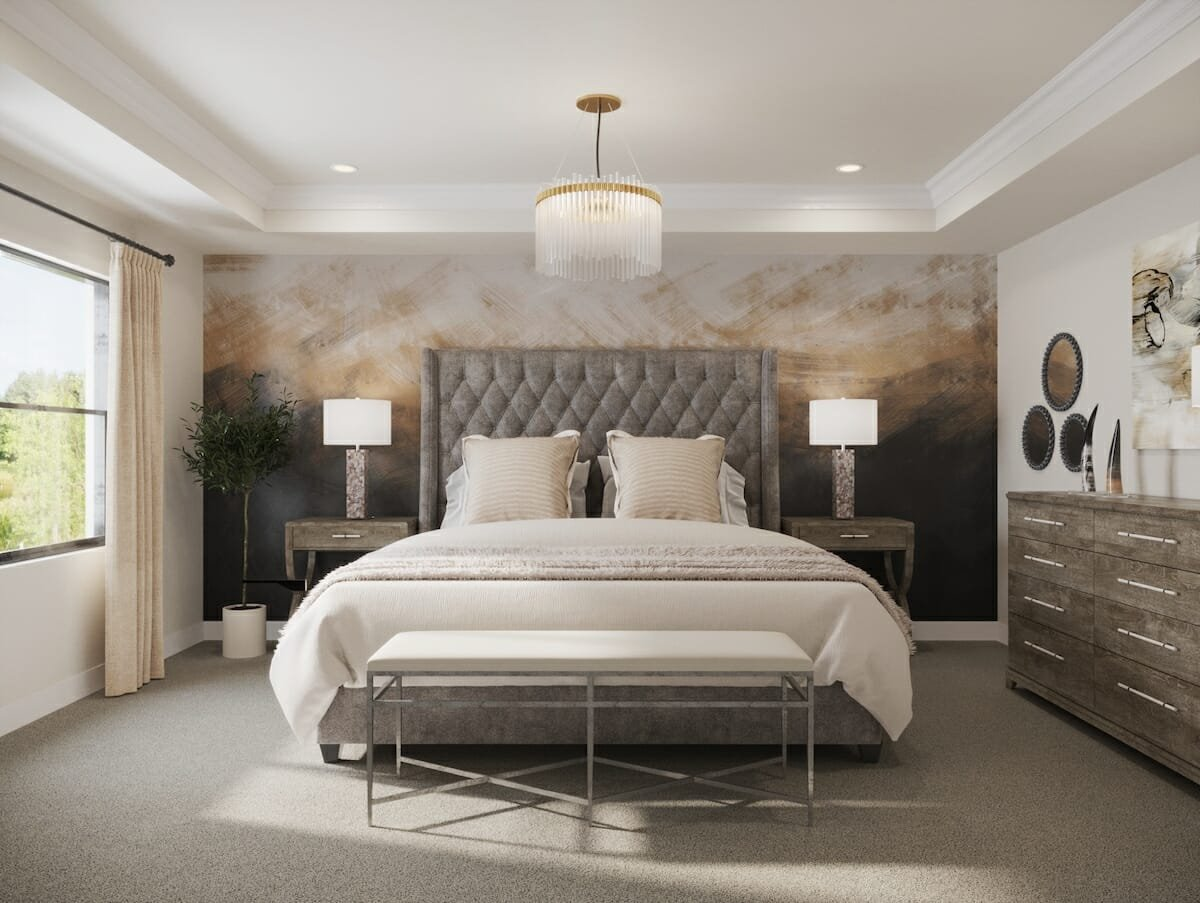 Transitional glam master bedroom by one of the best interior designers houston