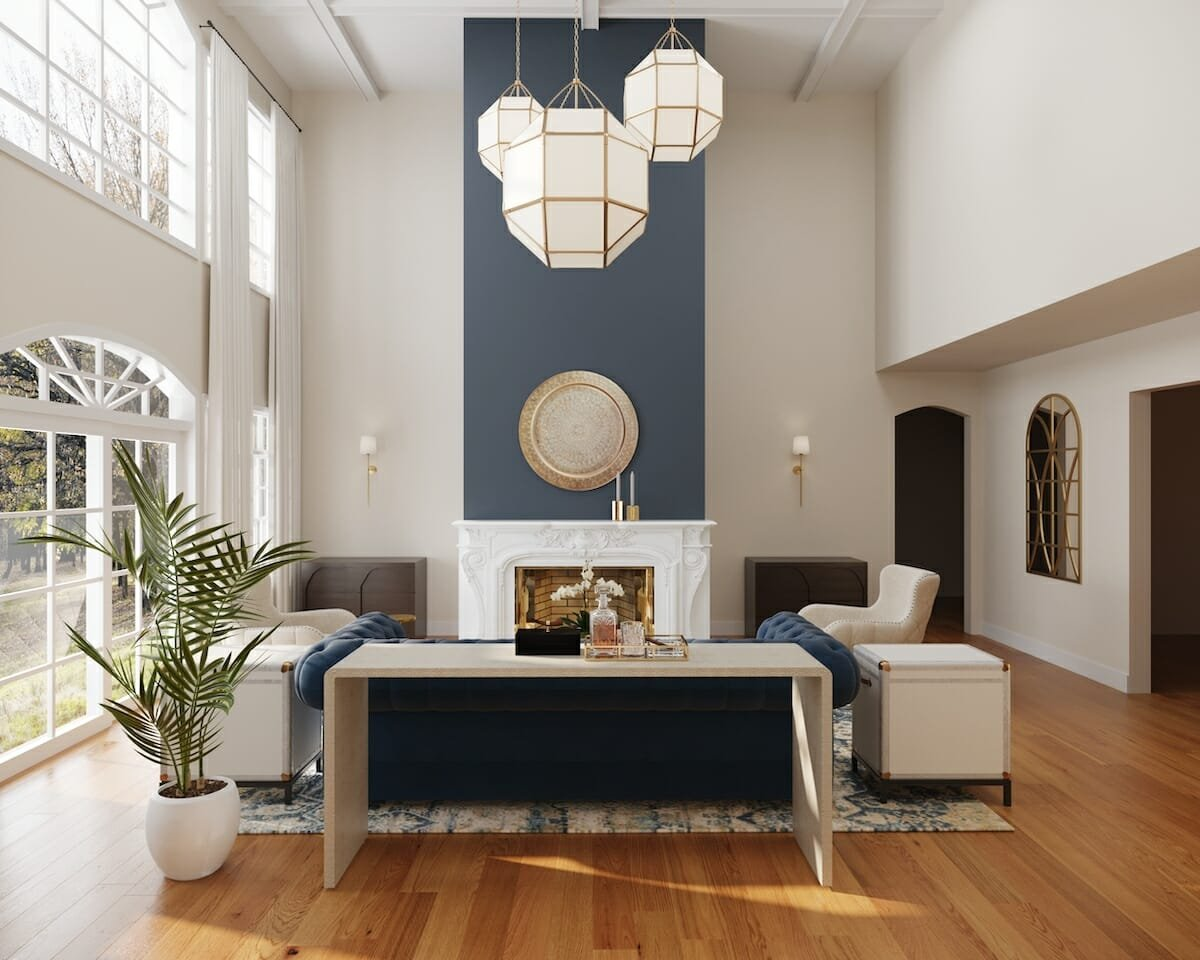 Transitional living room by one of Decorilla's Houston interior designers, Cayla S.