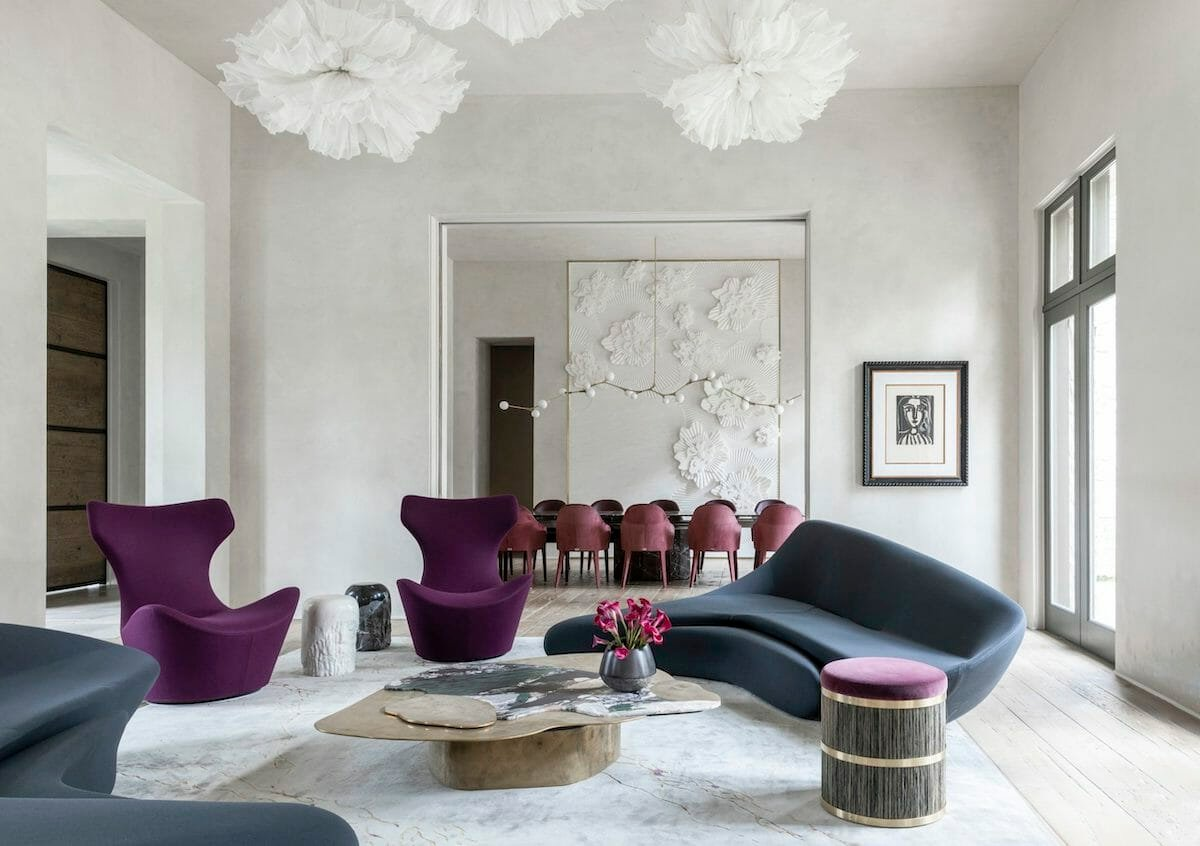 ultra contemporary living room by one of the top houston interior designers nina magon