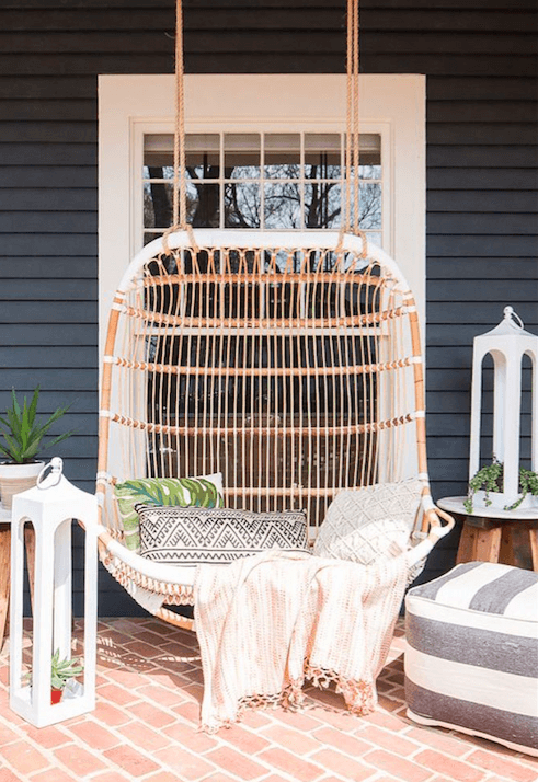 porch design wicker swing
