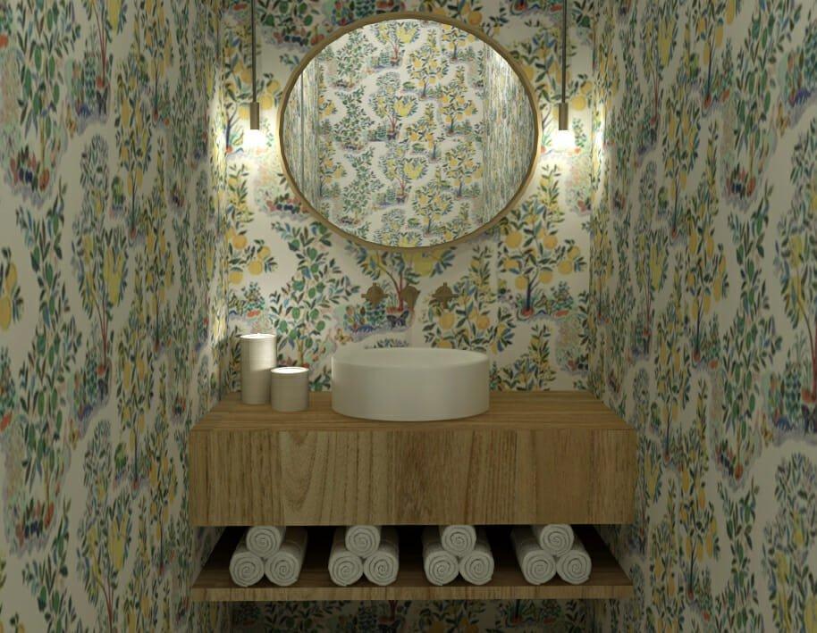 Floral wallpapered powder room by Chicago interior designer, Caroline B.
