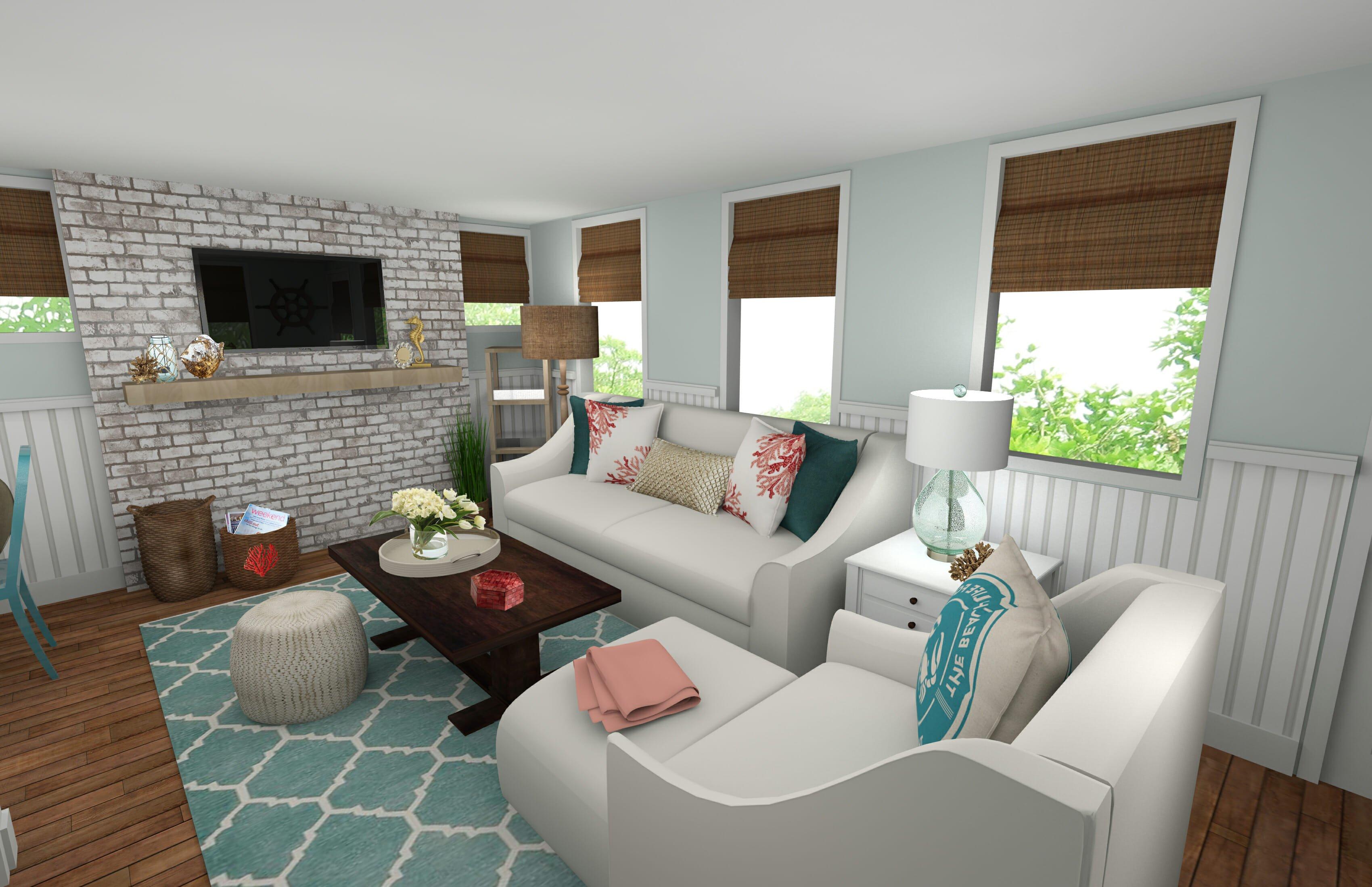 Online Interior Designer Beach Style Living Room | Decorilla