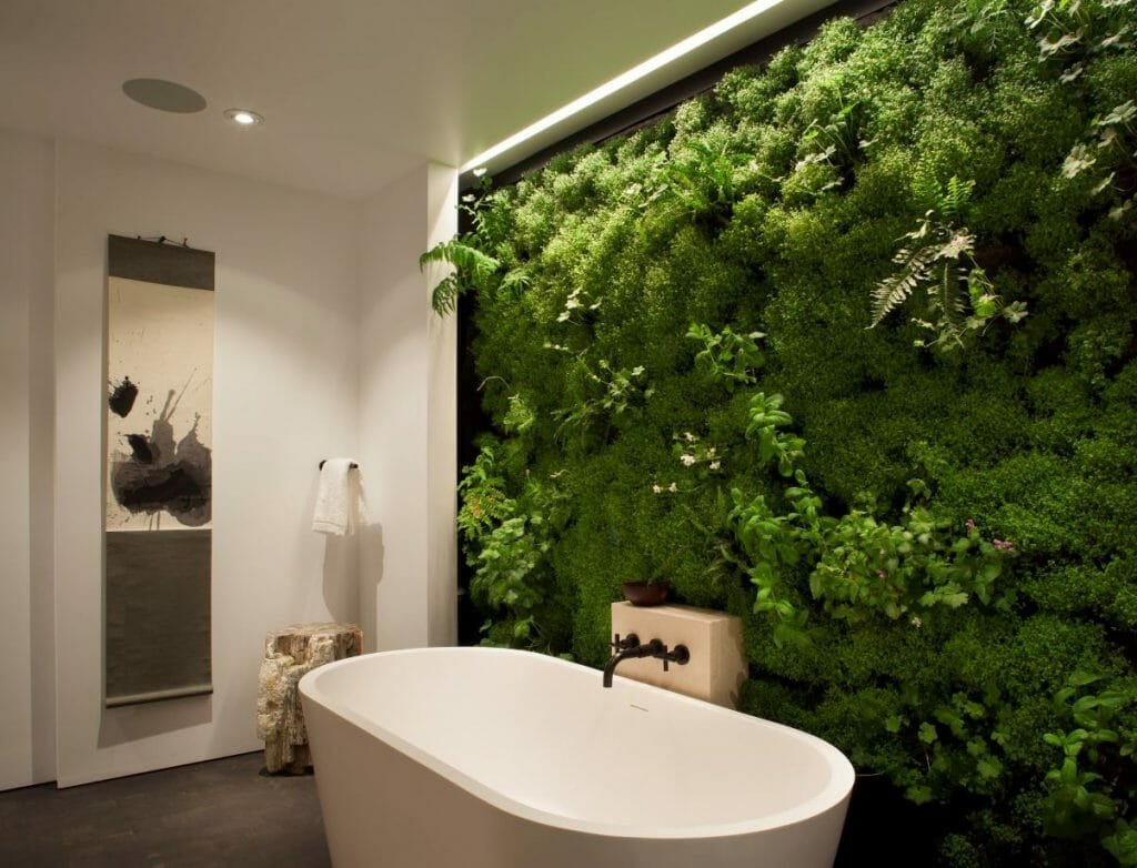 how to incorporate nature into your home- living wall in bathroom