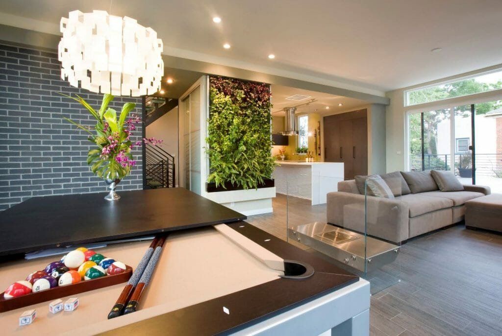 how to incorporate nature into your home- living wall in living room