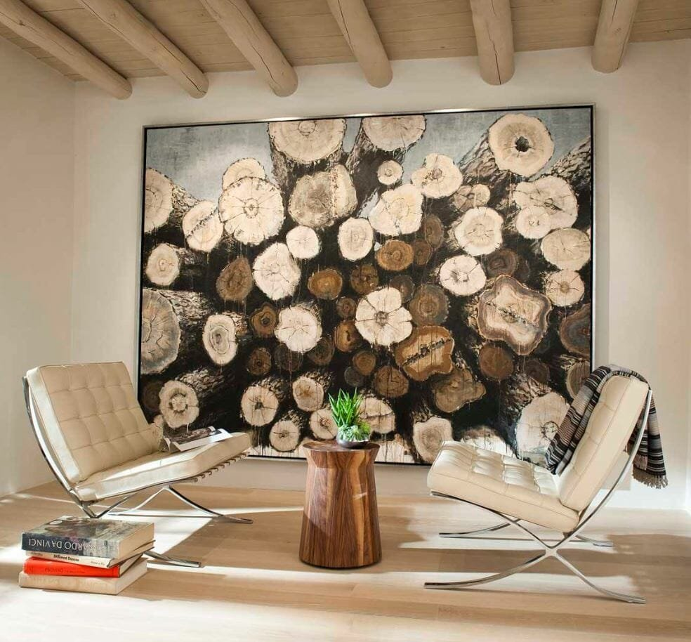 how to incorporate nature into your home- log art