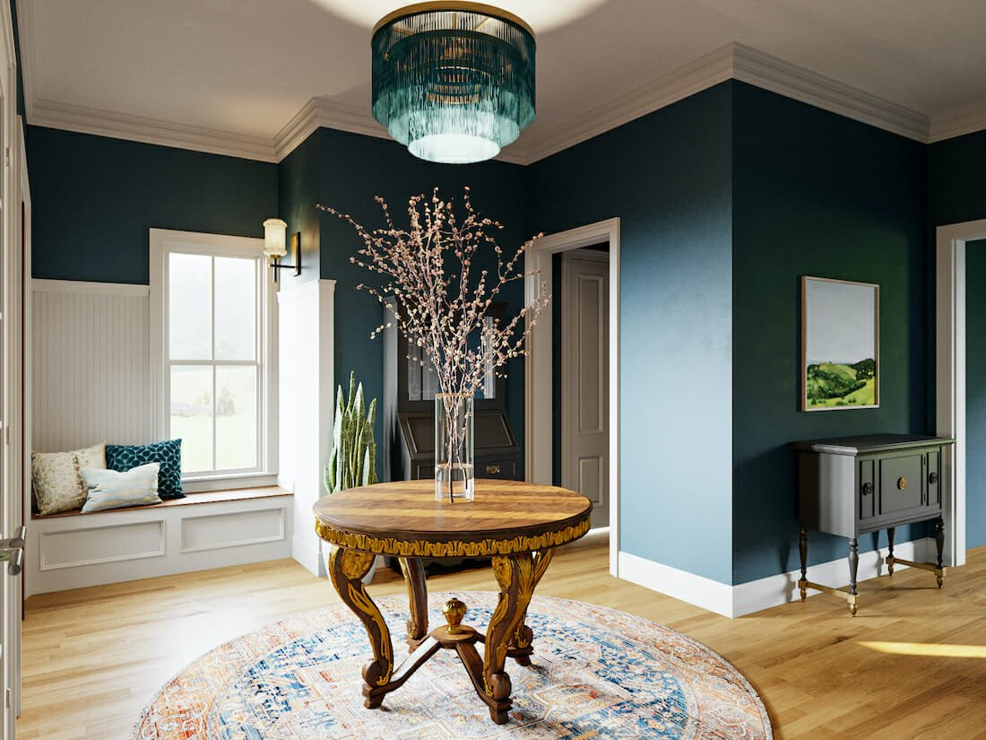 eclectic formal foyer decor