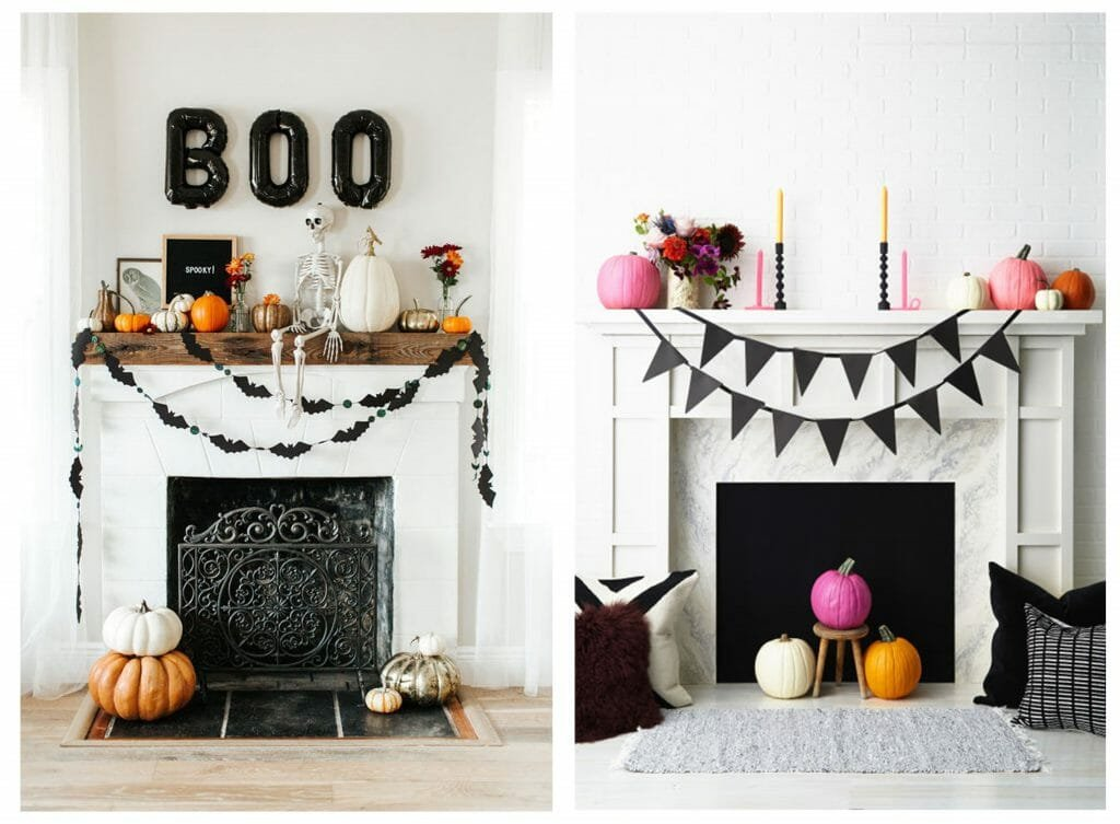 halloween decor trends fireplace garland