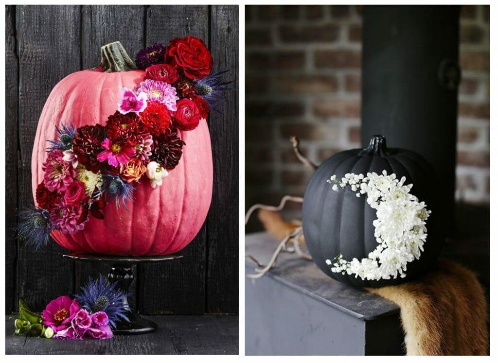 halloween decor trends floral pumpkin