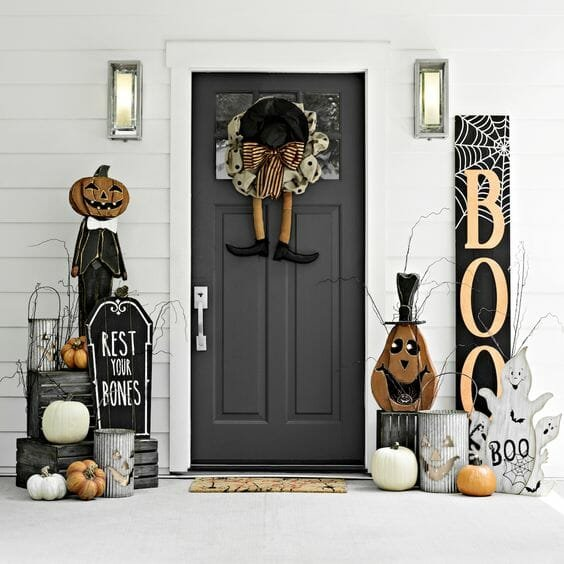 halloween decor trends layers on the front porch