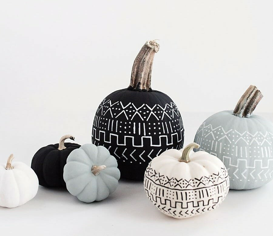 halloween decor trends painted geometric pumpkins