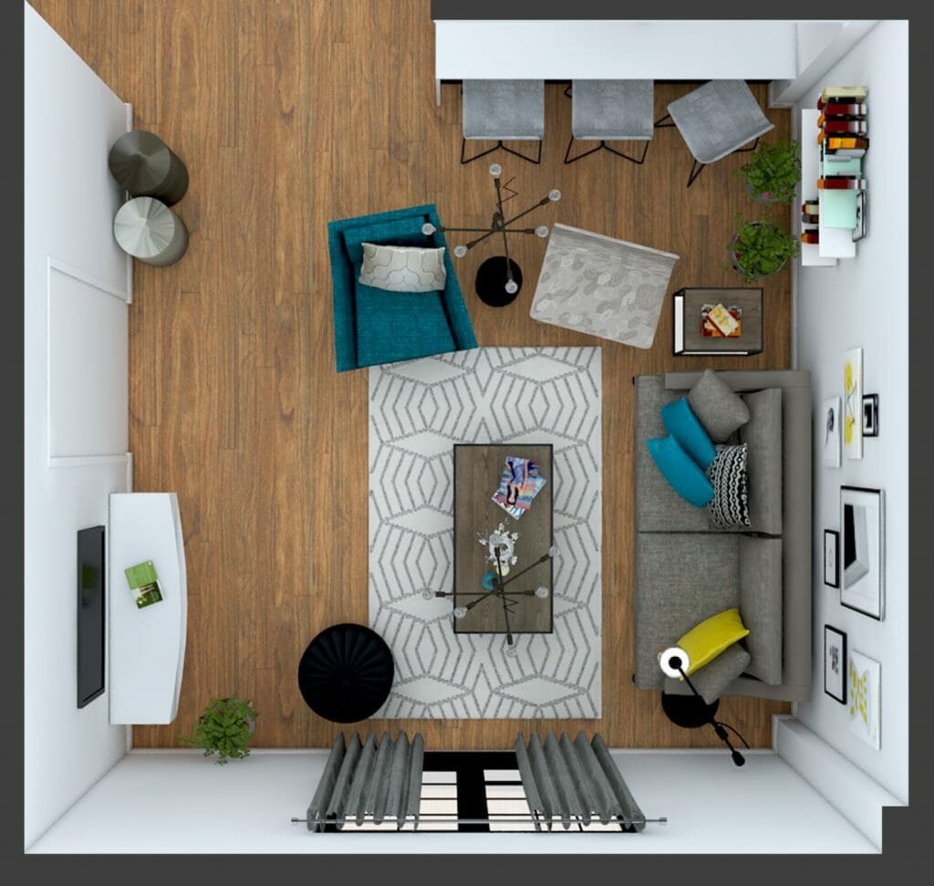 Before after playful modern online living room design - Design your room online ...