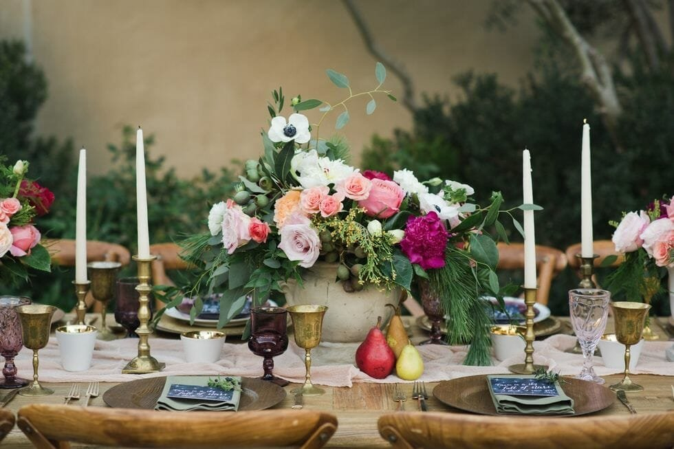 fall table decoration colorful florals
