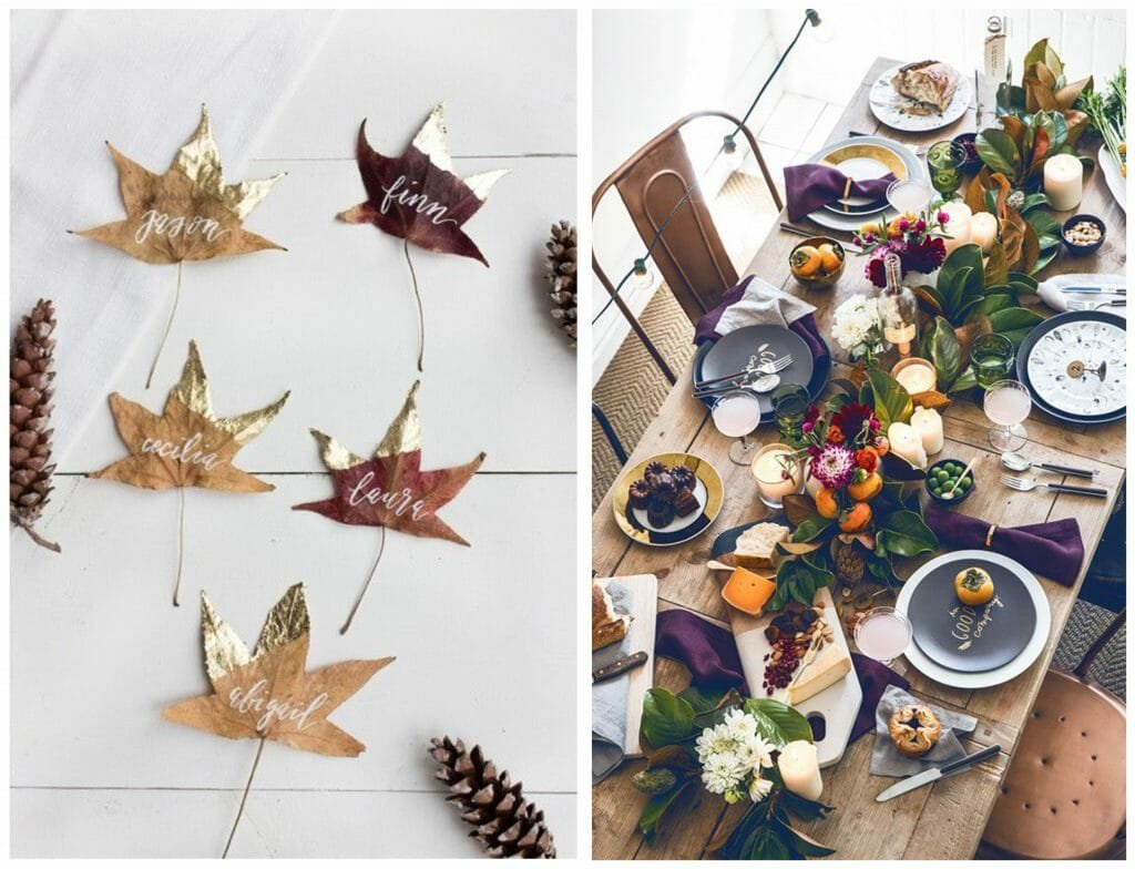 fall table decorations leaves and greenery