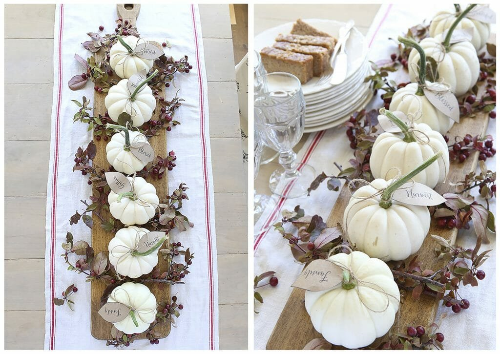 fall table decorations pumpkin place cards
