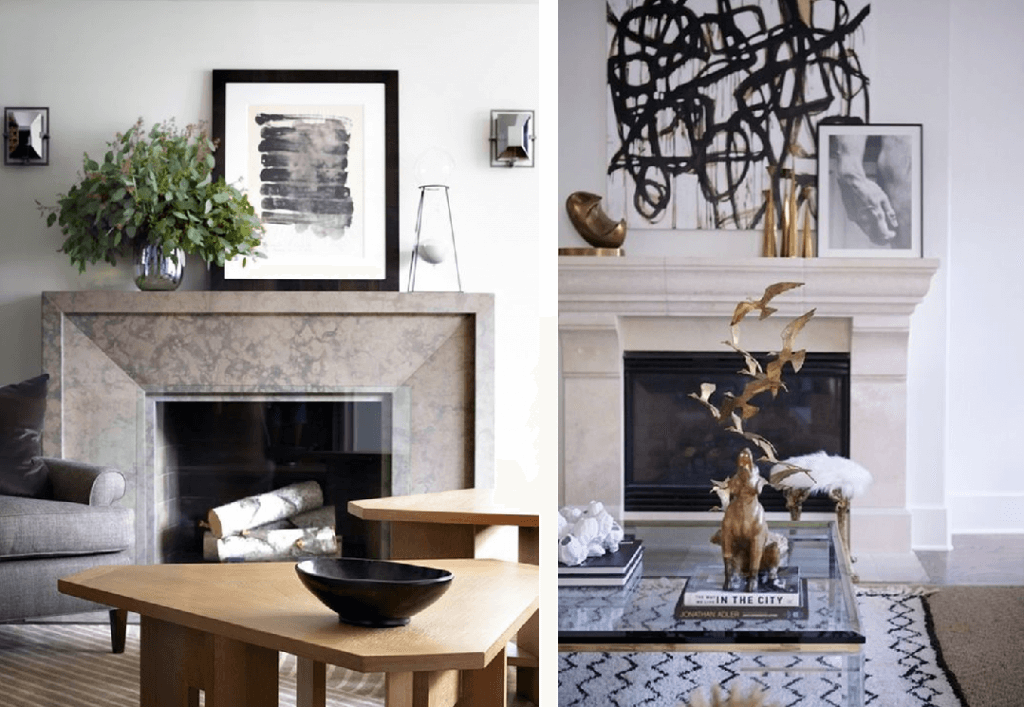 how to decorate a modern mantel vignette