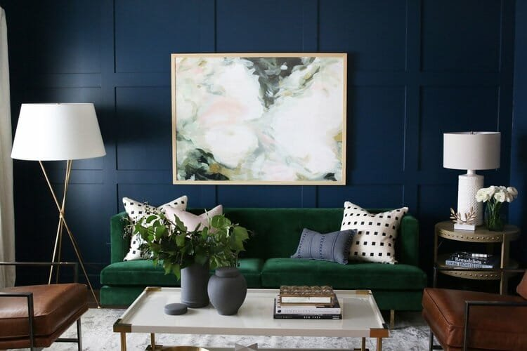 winter design trends emerald sofa