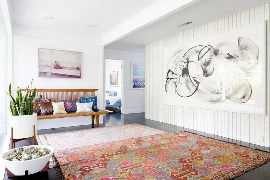 California home design layered rugs