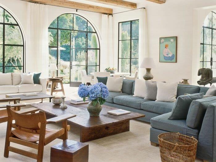 California home design blue sofa