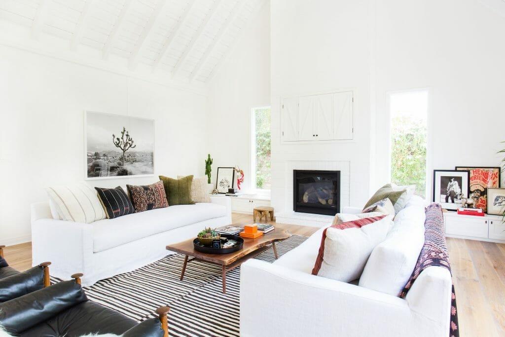 California home design white living room