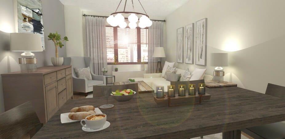 rustic chic online interior design rendering