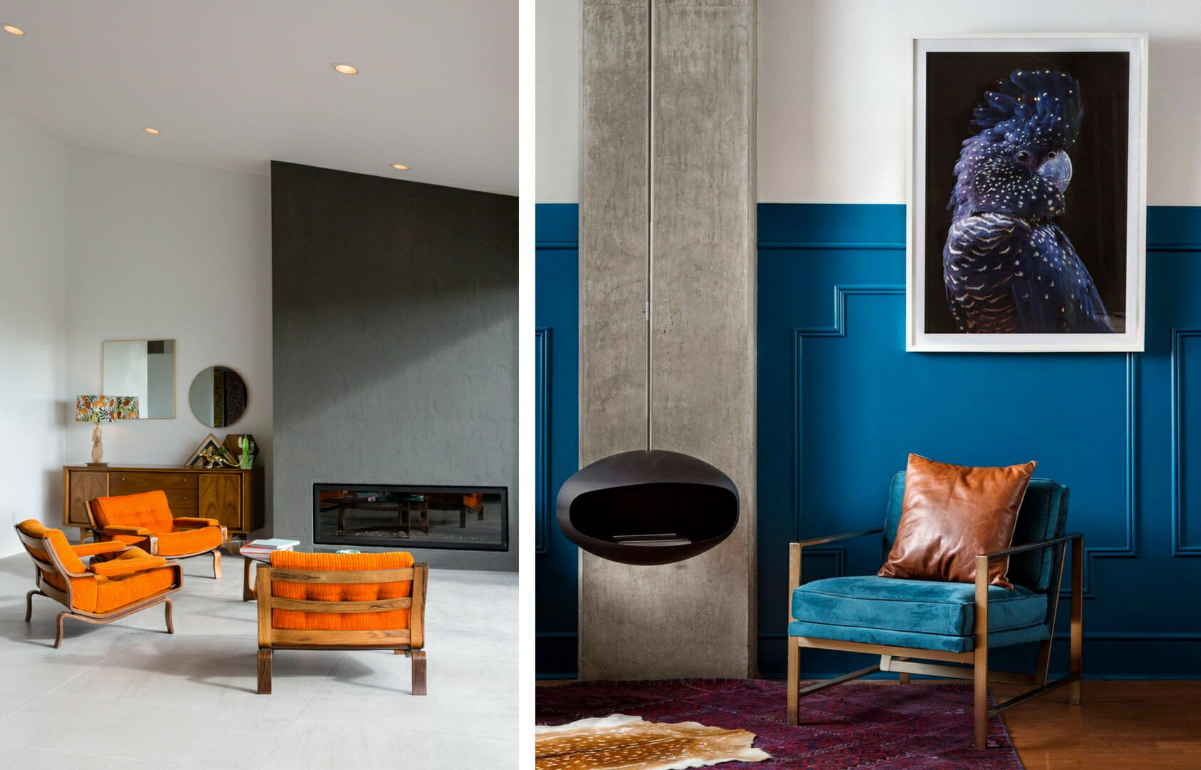 Pops of color in minimalist spaces by Decorilla designers Sara S. & Corine M.