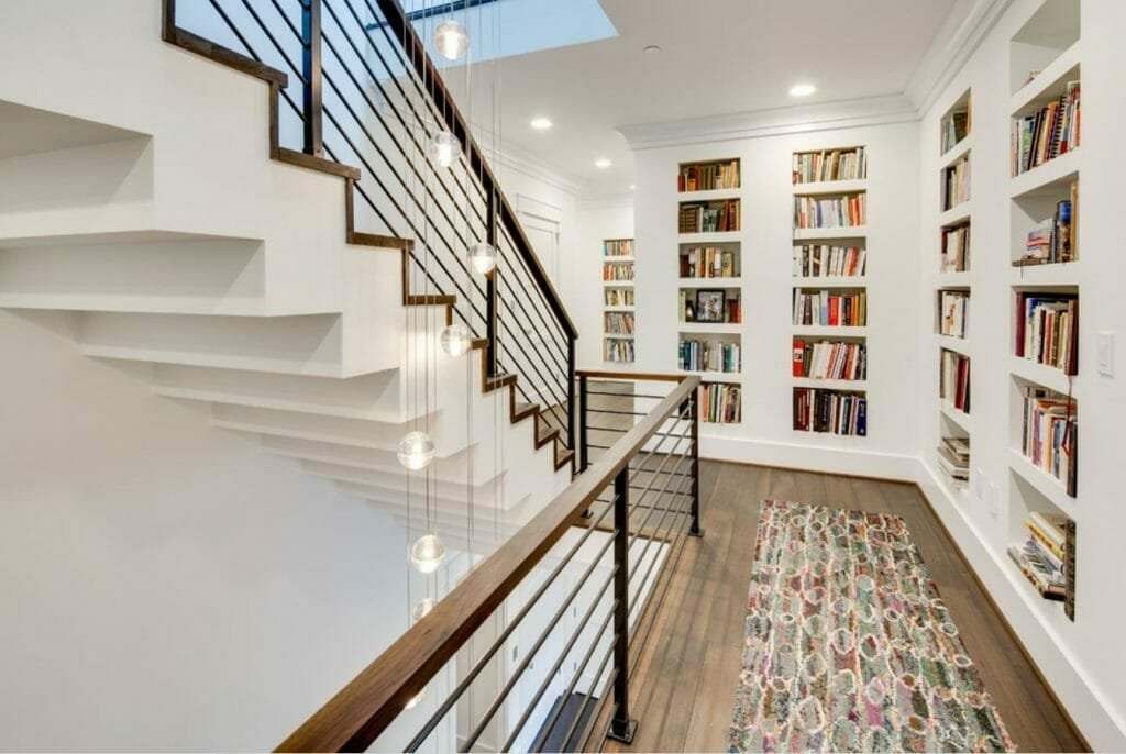 how to decorate a long hallway with bookcases