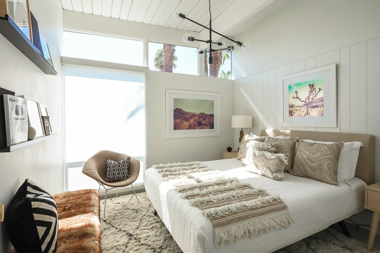 eclectic bedroom interior design with texture