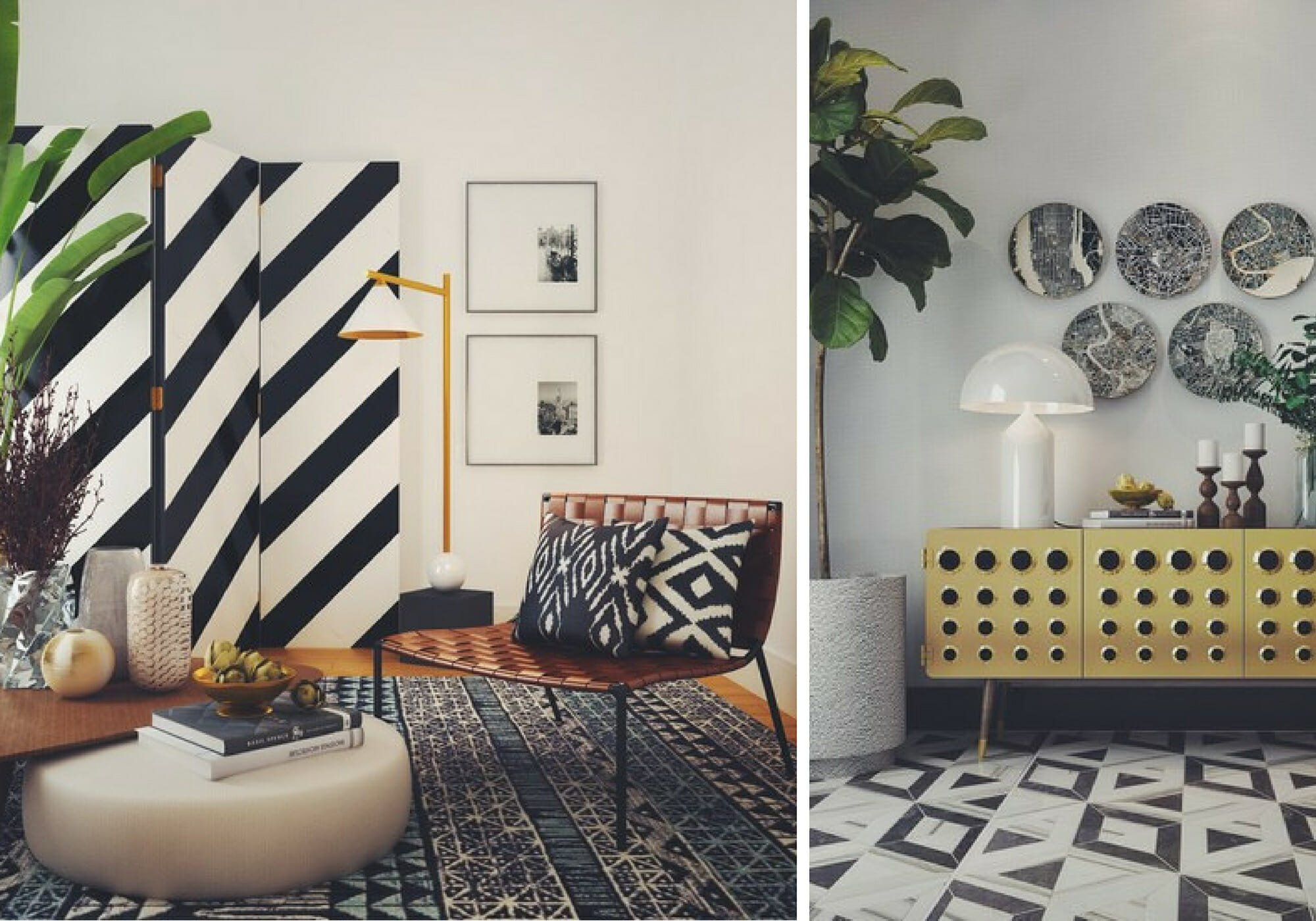 eclectic interior design with pattern