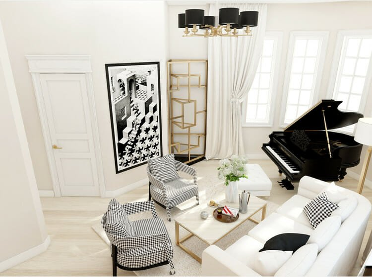 Black and white living room decor with gold accents