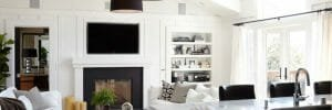 black and white living room decor feature